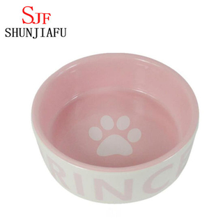 Pink Ceramic Dog Feeder Ceramic Pet Bowl