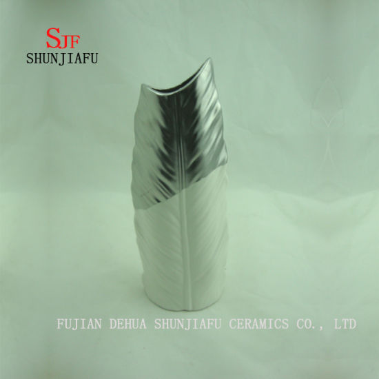 a High-End Feather Electroplated Vase/Silver