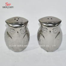 Owl& Fox Shape Electroplating Ceramic Salt and Pepper Shakers