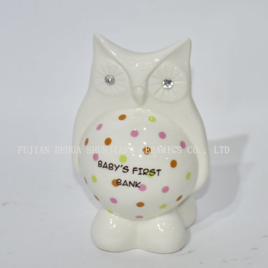 The Owl Shape Piggy Bank with Color Wave DOT