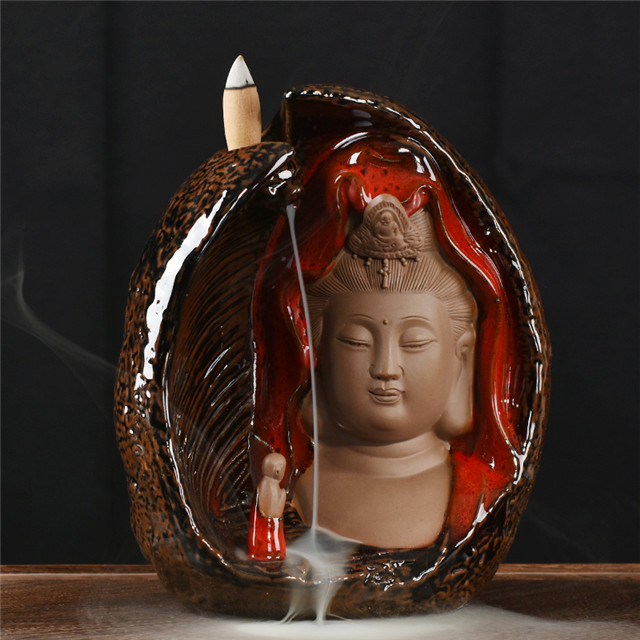 Backflow Incense Burner Guanyin Shape Wholesale Censer Cone Ceramic Smoke Burner Backflow Incense Holder Home Decor