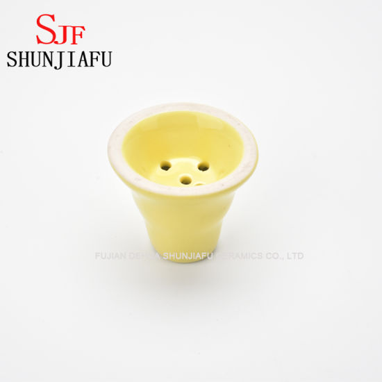 Yellow Ceramic Shisha Bowl for Hooka Narghile Smoking Accessories