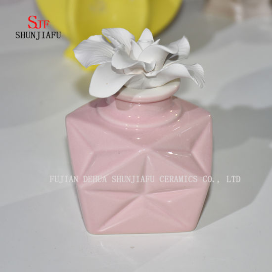 Ceramic Burner Aromatherapy; Diffuser Tealight Fragrance Holder with Flower/C