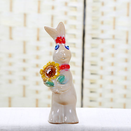 Ceramic Small Rabbit Hand Hold Sunflower Concise Fashion Home Decoration/a