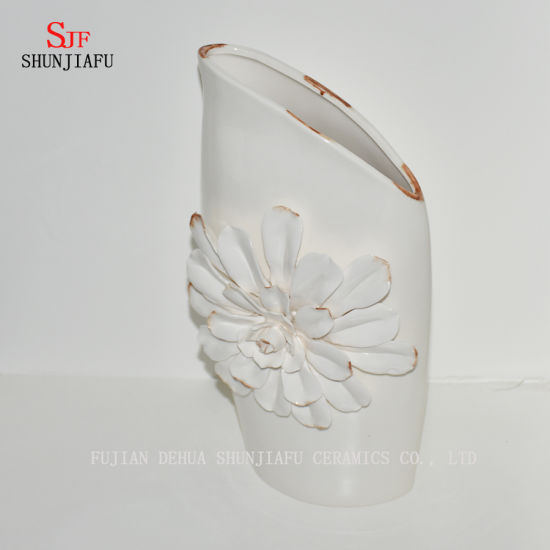 Beautiful Design off-White Ceramic Decorative Vase / Plant Flower Planter Pot