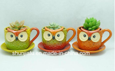 Ceramic Owl Shape Flowerpot for Garden Decoration