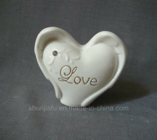Porcelain Home Decorations Heart Shaped with Artificial crystal, White