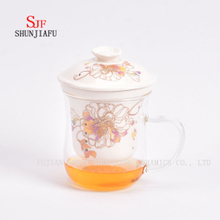 Flower Tea Cup Ceramic Filter Glass 400ml