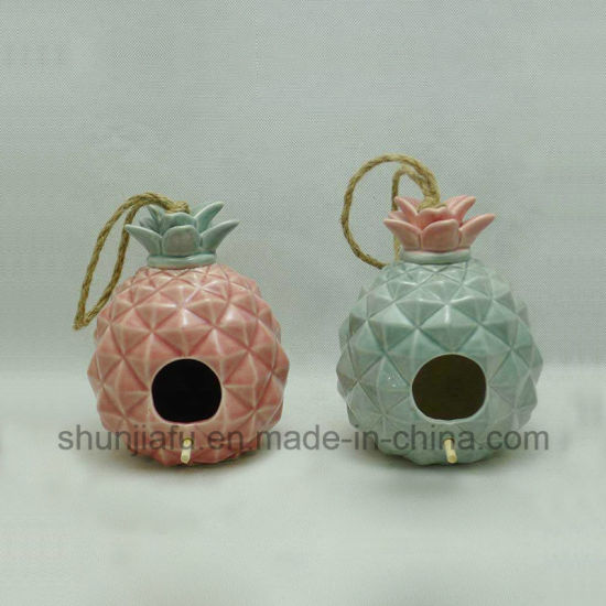 Gifts & Decor Ceramic Love Shack Bird House with Pineapple Shaped