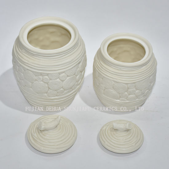 White Ceramic Canister, a Good Assistant in Storage for Home Decoration