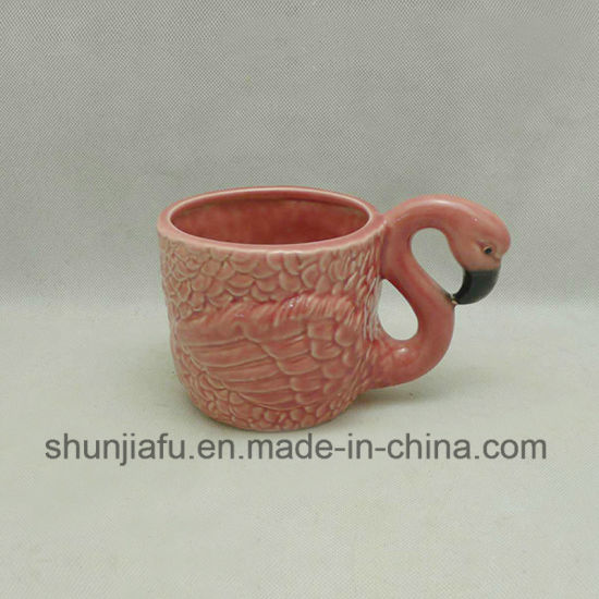 Ceramic Vase with Pink Flamingos