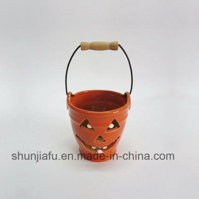 Ceramic Portable Pumpkin Cand Holder