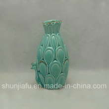 Ceramic Green Peacock Flower Vase