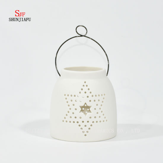 White Ceramic Design Tea Light Storm Lantern