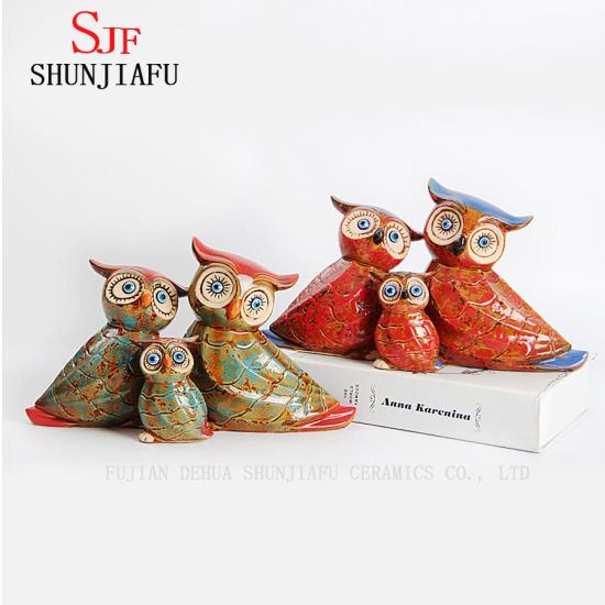 3 PCS / Set Ceramic Owl Design Cute Desk Organizer Decoration for Home and Office.
