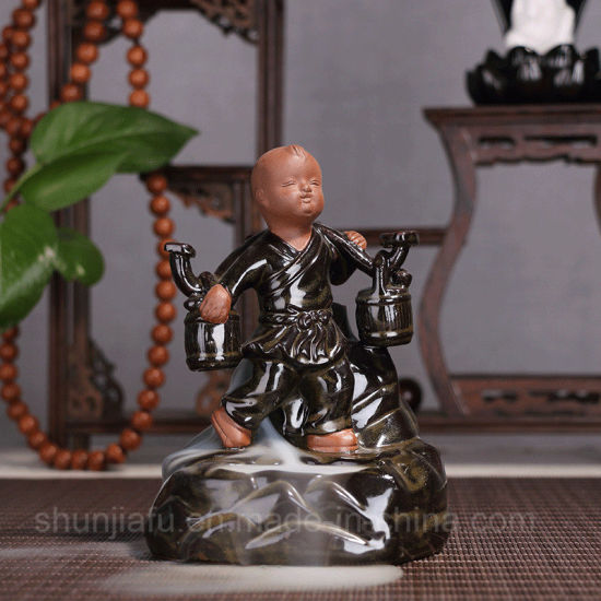 The Young Monk Decoration Incense Burner Smoke Backflow Ceramic