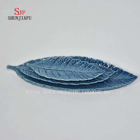 Blue Leaf Ceramic Glossy Sauce Dinner Plate Finish Dipping Dish
