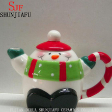 Christmas Ceramic Snowman Teapot with Green Scarf on Lid