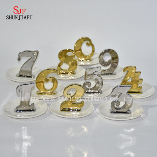 Letters Shape Jewelry Display Necklace Earring Bracelet Holder Organizer Rack Tower Electroplating Ceramic