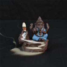 Creative Home Decor The blue Ceramic Ganesha/Ceramic Ganesha Statue Censer Backflow Incense Burner - blue