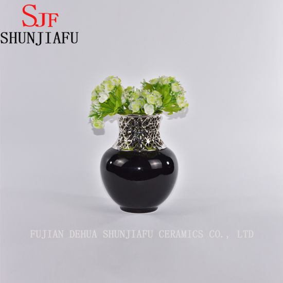 Morden Style Small Ceramic Flower Vase for Home Decoration (Black)