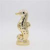 Home Furnishings Ocean Ocean Electroplated Gold Ceramic Seahorse Ceramic Seahorse Figurine, Polished Chrome Finish, Gold