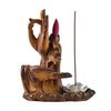 Brown Color With Both Buddha's-hand Flower Style Backflow Ceramic Censer Ceramic Backflow Incense Burner