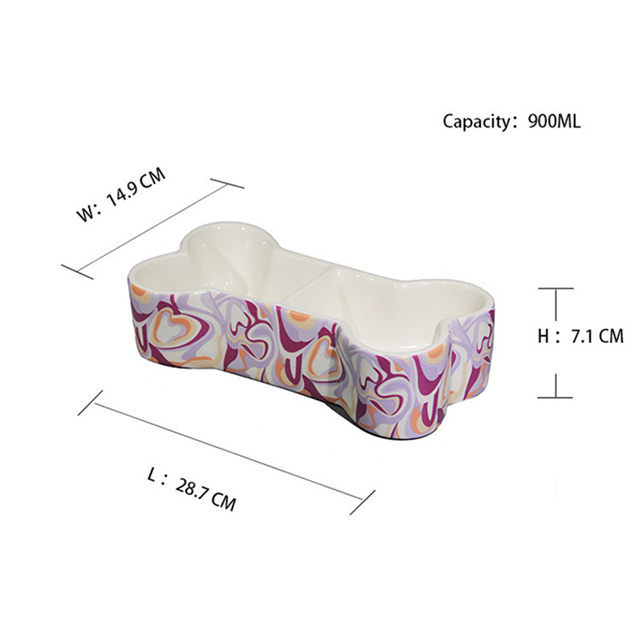 Bone shape Dog Bowl Ceramic food basin pet food basin lovely pet food Basin