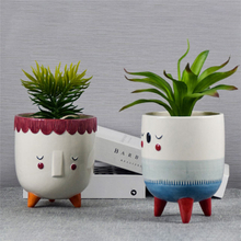 Home Balcony Table Decoration Planter Pot Tripod Support Abstract Face Ceramic Flowerpot