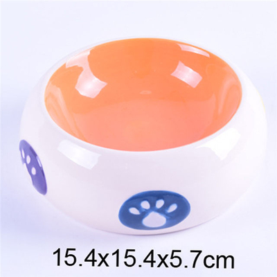 Bowl inside Orange Bowl outside White Drum Style Printed Footprints Ceramic Pet Feeder Ceramic Dog Bowl