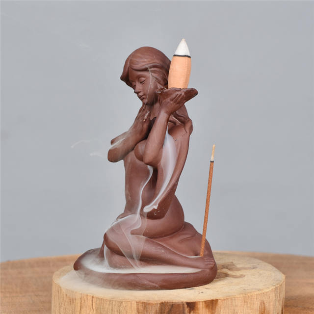 Hand Holding Backflow Incense Cone Goddess Statues Ceramic Backflow Incense Burner