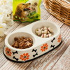 Black Circle Edge Bowl Bottom Printing Dog Footon Circular Dog Footon Ceramic Double Bowl Integration Dog Bowl Ceramic Pet Feeder