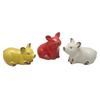 Ceramic Red Pig Yellow Pig And White Pig Ornaments