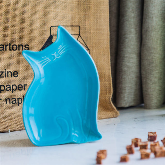 Cat Style Ceramic Plate Ceramic Pet Feeder Blue Ceramic Dog Bowl