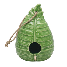 Green Ceramic Leaf Bird Feeder