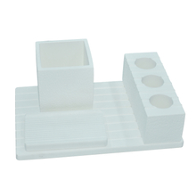 White Bathroom Suit Horizontal Plate 4 Holes Diatomite Toothbrush Holder Toothbrush Holder Soap Dish Etc Suit