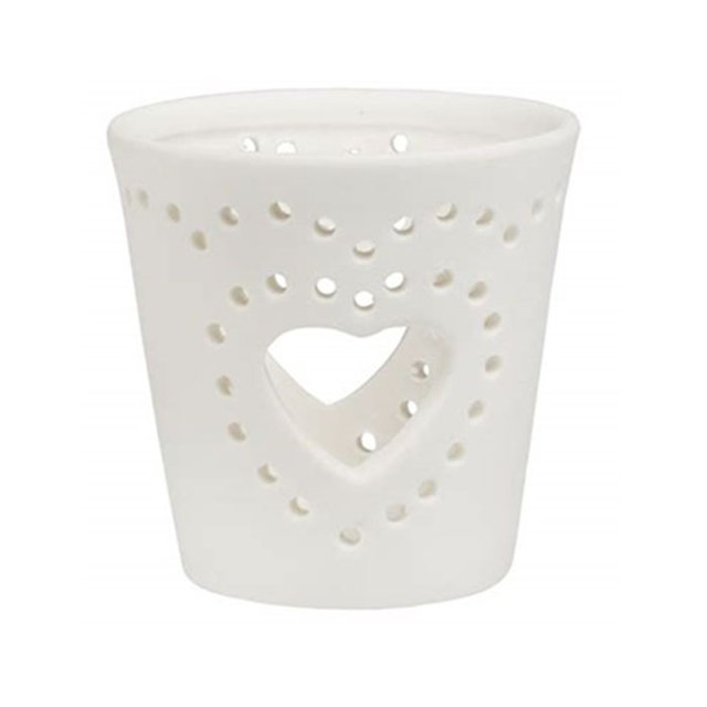 Hollow heart Ceramic candle cup
