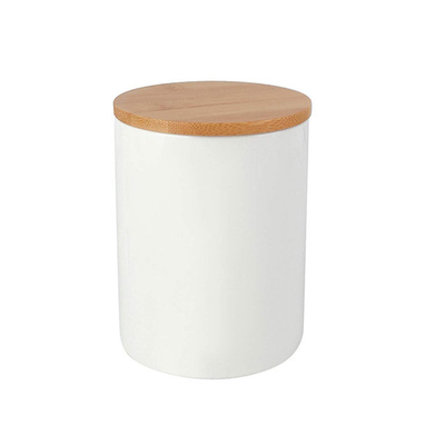 White ceramic pot With bamboo lid Ceramic candle jar