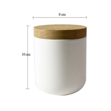 with a bamboo lid ceramic candle jar