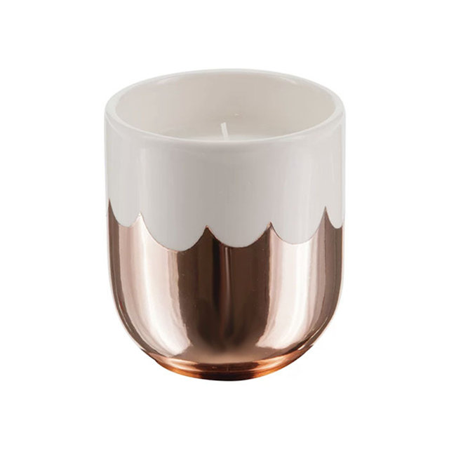 Gold plated ceramic candle cup
