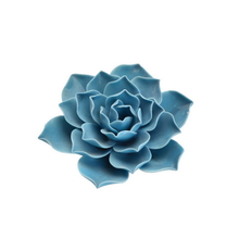 Blue Rose Flower Color Home Decor Wedding Decoration Porcelain Flower Figurine Statue Ceramic Flower