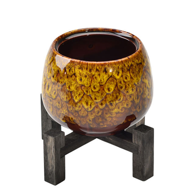 Ceramic vases made of bamboo Home Furnishing decoration Desktop Decorative Bamboo Bracket-mounted Yellow delicacy Ceramic Flower Pot