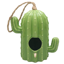 plant Cactus style green Suspension type ceramic pig Bird feeder