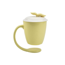 Yellow Color Home Decoration Custom Suspending mugs Floating Ceramic Coffee Mug With Handle and Lid