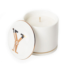 with Printed Gold Letters Ceramic Lid White Ceramic Candle Jar