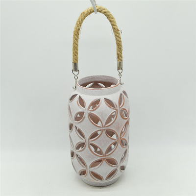 Outdoor home decoration Flower pattern New Color Suspension Ceramic Pumpkin Hollowed Out Lantern
