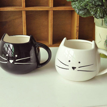 Black Or White Colour Feline Style Ceramic Coffee Cup Or Tea Cup