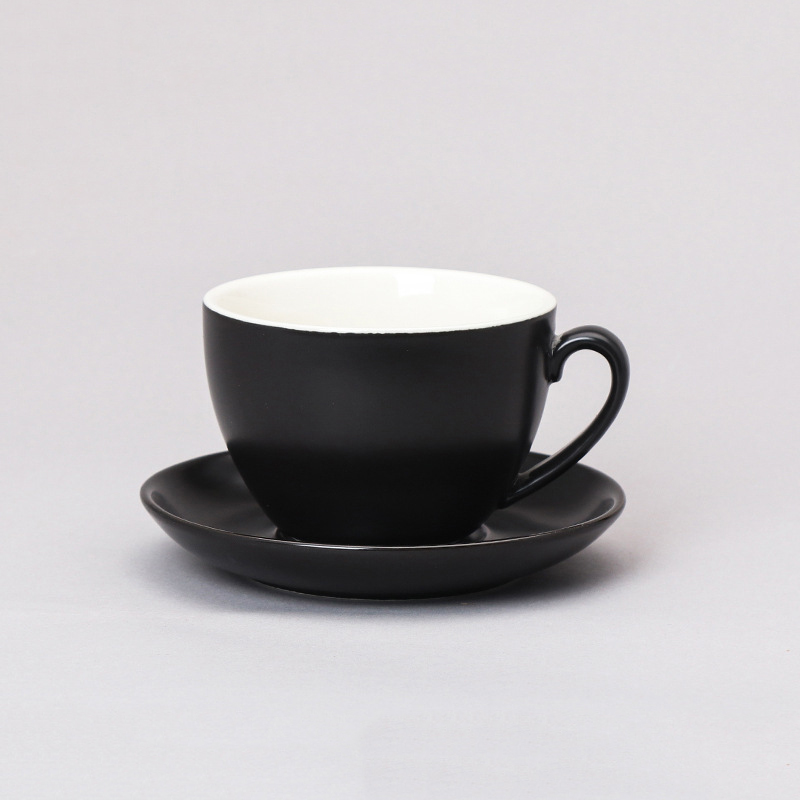 custom logo gift box porcelain coffee mug 320ml Black 、white Match with ceramic cup plate Coffee Ceramic Cup set