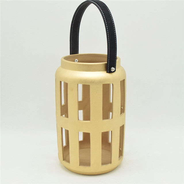 Home Furnishing Decoration Light Yellow Ceramic Cylinder Strip Shape Style Hollowing Out Hurricane Lantern