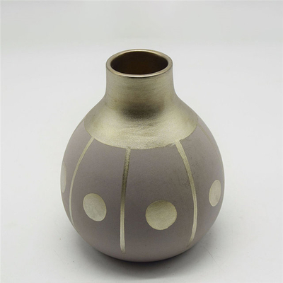 Modern Style White Dots Rugby Style Colorful Golden Yellow Baisha Phnom Penh Modern Style Golden makeup Ceramic Vase